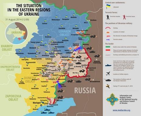 """""""Euromaidano"""" nuotr./Situacija Rytų Ukrainoje rugpjūčio 31 d."""