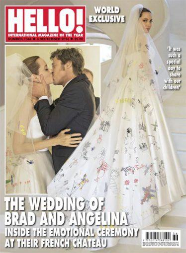 """Žurnalo """"Hello!"""" viršelis/Angelinos Jolie ir Brado Pitto vestuvės"""