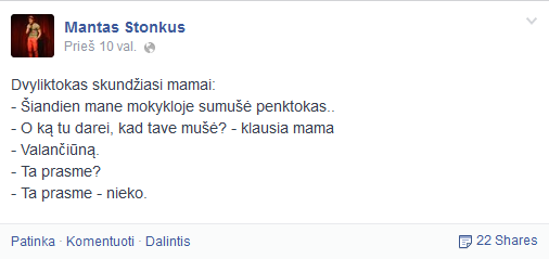 Facebook nuotr./Manto Stonkaus pokštas