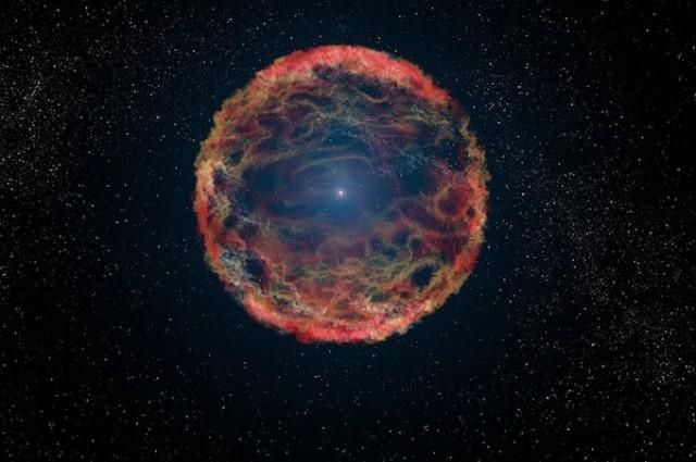 SN 1993J supernovos sprogimas M81 galaktikoje menininko akimis
