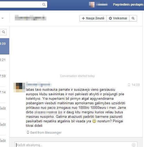 Facebook nuotr.//Nepažįstamos moters Gintarei Mackelaitei atsiųstas laiškas