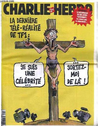 """""""Charlie Hebdo"""" iliustr./2006 m. – """"Aš įžymybė – ištraukite mane iš čia"""""""