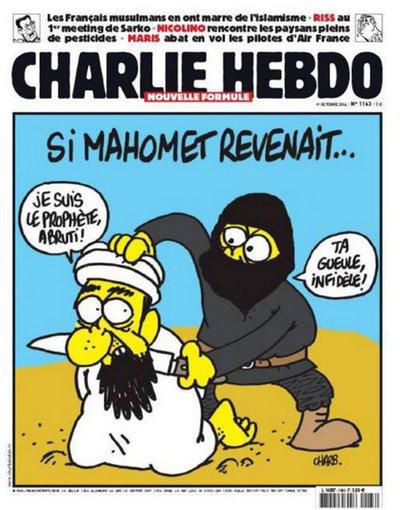 """""""Charlie Hebdo"""" iliustr./2014 m. – Jeigu Mahometas grįžtų... """"Aš esu pranašas, idiote!"""", """"Tylėk, ateiste"""""""