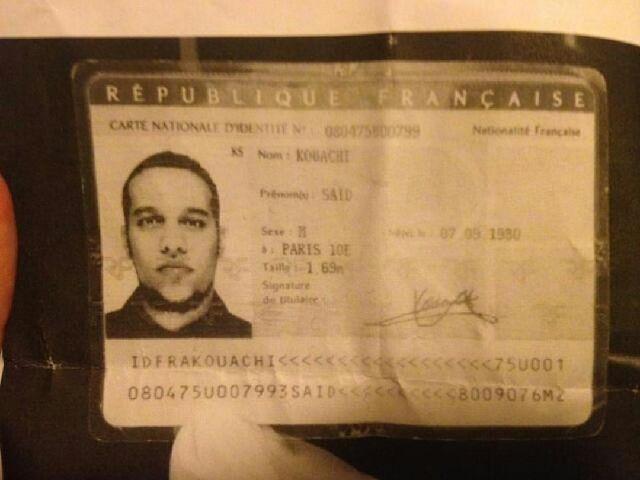 Vieno iš įtariamųjų – Saido Kouachi – asmens dokumentas