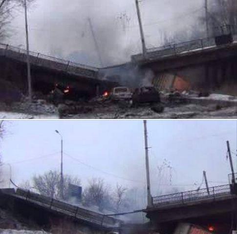 Sunaikintas kelias iš oro uosto į Donecko miesto teritoriją – susprogdintas Putilovsko tiltas.