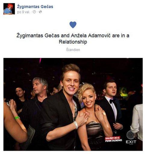 Facebook nuotr./Žygimantas Gečas ir Anžela Adamovič