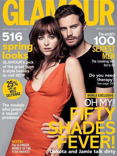 """Žurnalo """"Glamour"""" viršelis/Steven Pan nuotr./Jamie Dornanas ir Dakota Johnson"""
