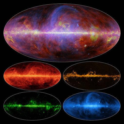 ESA/NASA/JPL/Žvilgsnis į Paukščių tako galaktiką mikrobangomis. Virštuinis vaizdas yra sudarytas iš keturių apatinių. Žemiau kairėje – dulkės, dešinėje – dujos, apačioje kairėje – šviesa iš krūvį turinčių įelektrintų dalelių sąveikos,  apačioje dešinėje – magnetinis laukas.