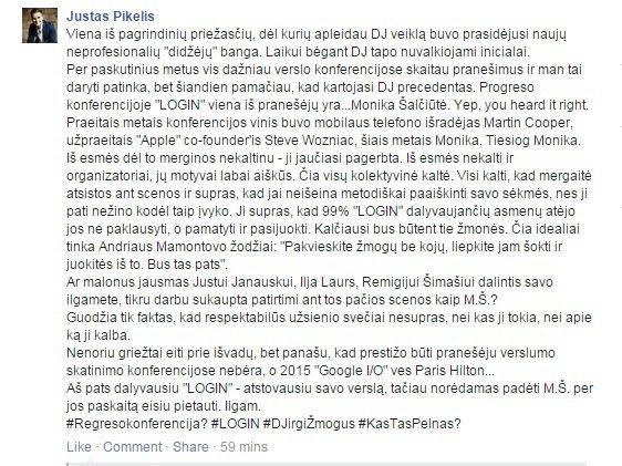 """Justino Pikelio pasisakymas """"Facebook"""""""
