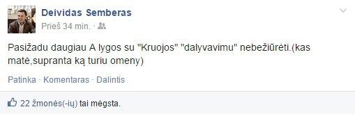 """Deivido Šembero įrašas """"Facebook"""""""