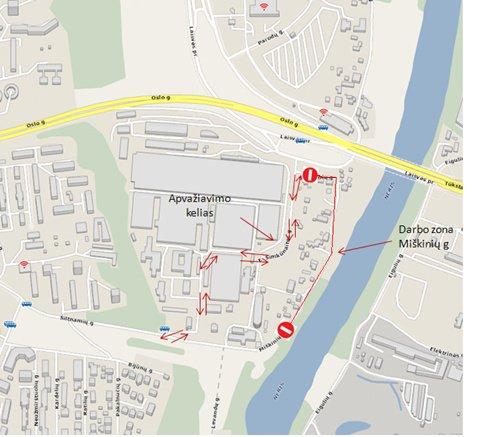 Vilniaus miesto sav. nuotr./nuo gegužės 18 d. iki  gegužės 29 d. dėl asfaltavimo darbų laikinai bus draudžiamas transporto eismas Miškinių gatvės dalyje tarp Šiltnamių ir E.Šimkūnaitės gatvių.
