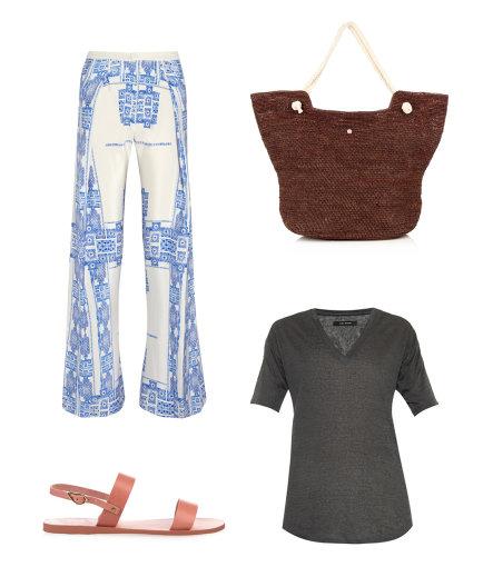 """Gamintojo nuotr./""""Zeus + Dione"""" kelnės, odinės senovinio graikiško stiliaus """"Clio"""" basutės, ruda """"Heidi Klein"""" paplūdimio rankinė, pilka """"Isabel Marant"""" palaidinė."""