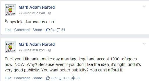 Faceboook.com nuotr. /M.A.Haroldo pareiškimai socialiniame tinkle