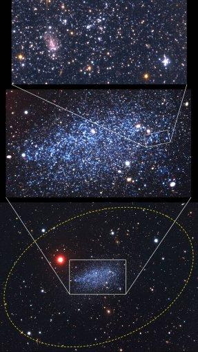 """FTMC nuotr./ Apačioje – geltona elipsė žymi Leo A galaktikoje atrasto žvaigždžių halo ribas """"Subaru"""" teleskopo nuotraukoje. Ryški raudona žvaigždė priklauso mūsų Galaktikai. Viršuje – """"Hubble"""" tik kosminiu teleskopu įžiūrimas jaunas žvaigždžių spiečius (dešinėje) ir tolima galaktika (kairėje)."""