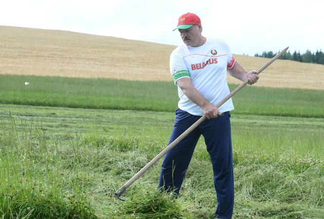 Aleksandras Lukašenka mokė Gerardą Depardieu šienauti