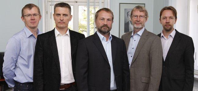 """""""Eesti Media"""" savininkai (iš kairės): Meelis Luhtas, Andresas Kullas, Margusas Linnamäe, Martas Kadastikas ir Toomas Issakas"""
