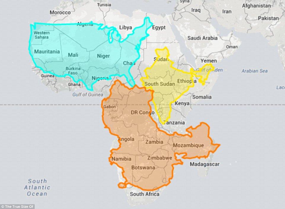 Afrika Karta Guinea.Tikrasis Zemės Dydis Apnuogina Zemėlapių Netiksluma Jav Indija Ir