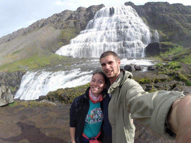 Juozapo ir Ingridos asmenukė prie Dynjandi krioklio