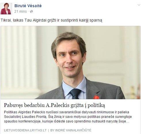 15min nuotr./Birutė Vėsaitė kviečia Algirdą Paleckį į aktyvią politiką