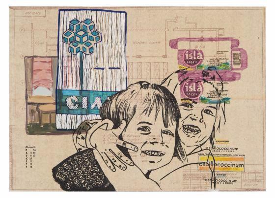 Ligos istorija VIII / J.Kyzikaitė / 2009, popierius, mišri technika, siuvinėjimas, 42,5 x 59 cm