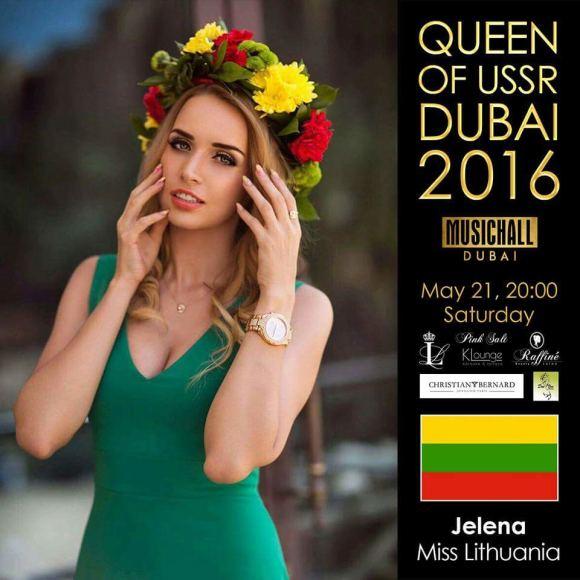 "Asmeninio albumo nuotr./Jelena Adomauskaitė konkurse ""Queen of USSR 2016"""