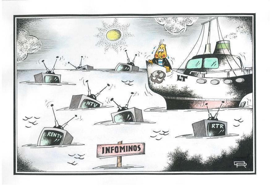 """R.Dovydėno karikatūra """"Infominos"""""""