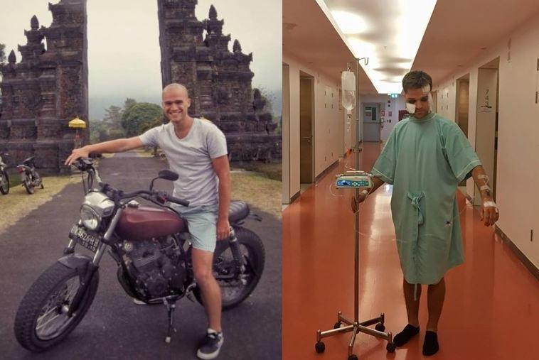 Asm. archyvo nuotr./Jokūbas Laukaitis Balio saloje (kairėje) ir Tailande po avarijos