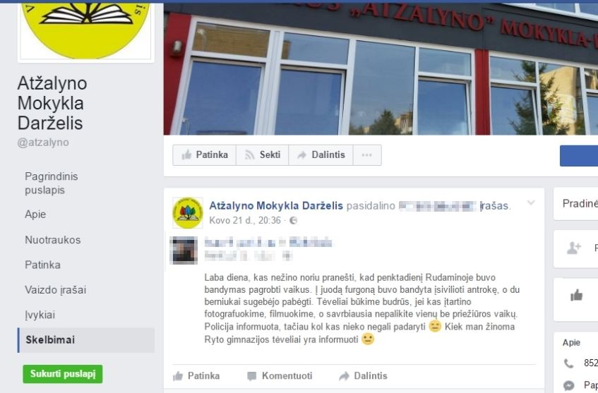 """""""Facebook"""" atvaizdas/pranešimu feisbuke pasidalijo ir Vilniaus """"Atžalyno"""" mokyklos darželio administracija."""