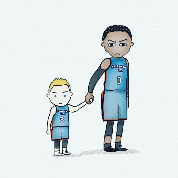 """""""Twitter"""" nuotr./Domantas Sabonis ir Russellas Westbrookas"""