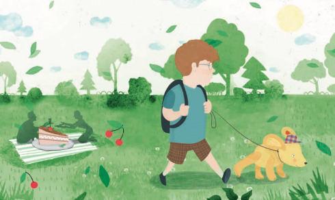 """Knygos """"Marcipanas: pliušinio šuns istorija"""" iliustracija"""