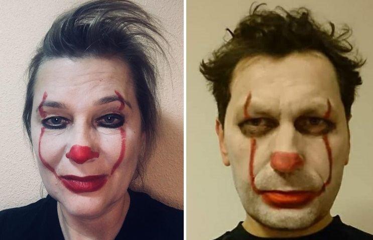 """Aušra Papirtienė ir Robertas Šarknickas savo feisbuko profiliuose publikavo nuotraukas, kur patys yra virtę """"klounais""""."""