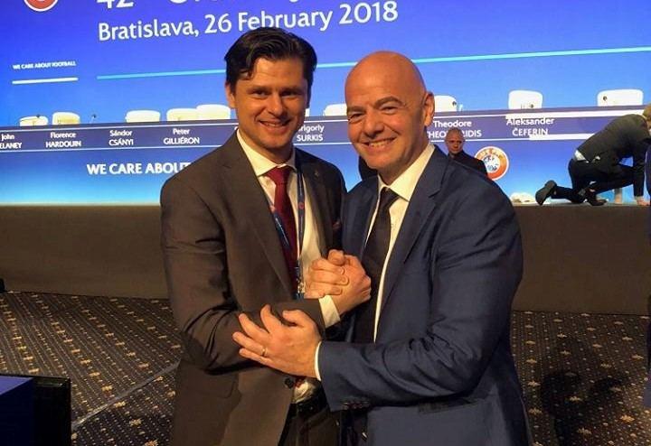 Tomas Danilevičius ir Gianni Infantino