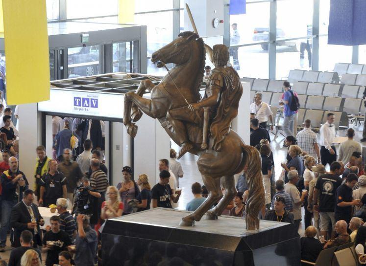 Aleksandro Makedoniečio statula Skopjės oro uoste