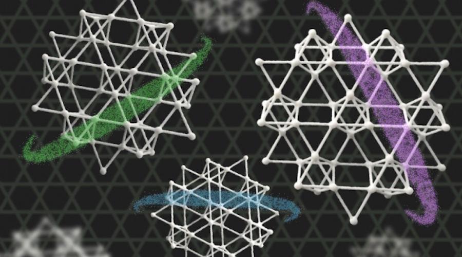 Kagome metalo kristalinės gardelės iliustracija