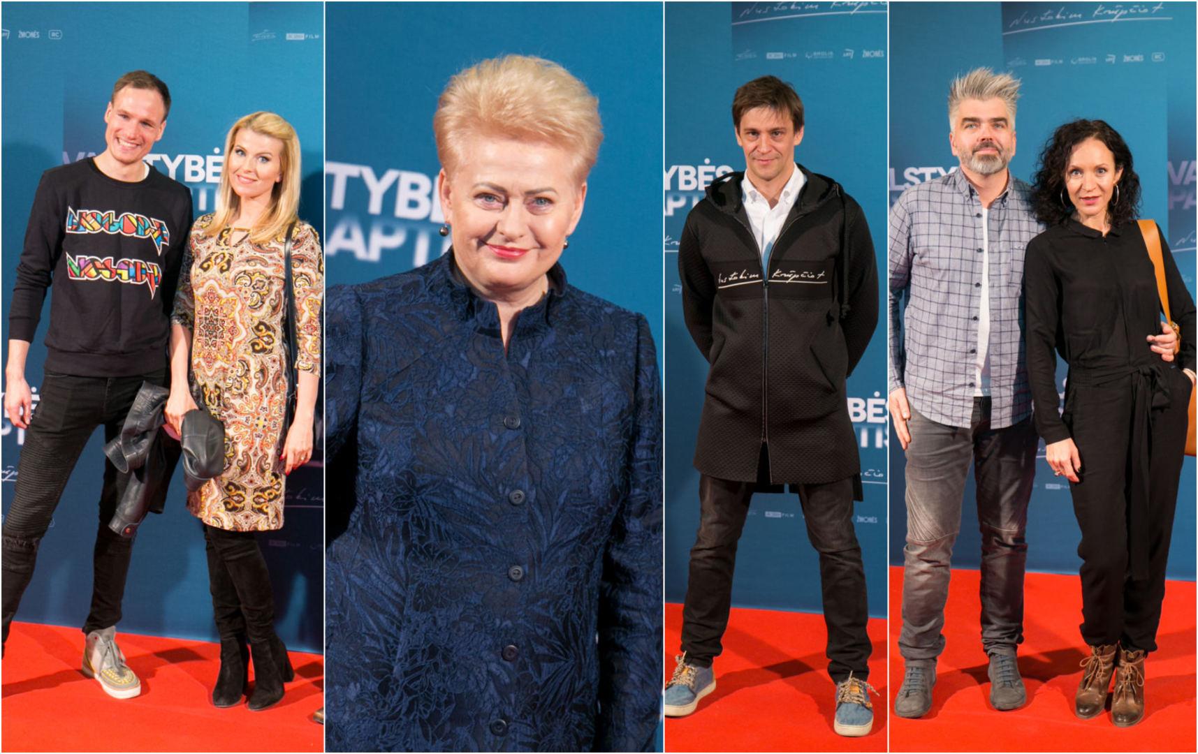 Algirdas Gataveckas ir Rūta Mikelkevičiūtė, prezidentė Dalia Grybauskaitė, Donatas UIvydas, Livija ir Marijus Grad...
