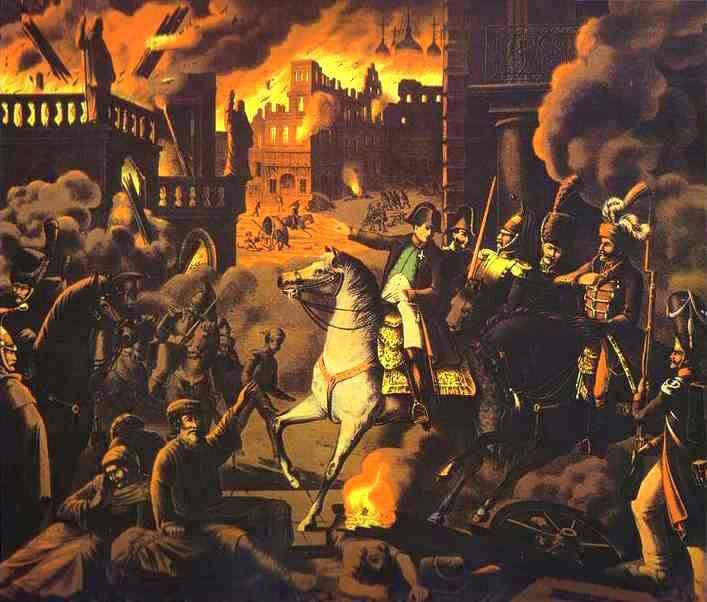 Deganti Maskva, nežinomo vokiečių menininko kūrinys