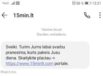 Sukčių platinama SMS žinutė