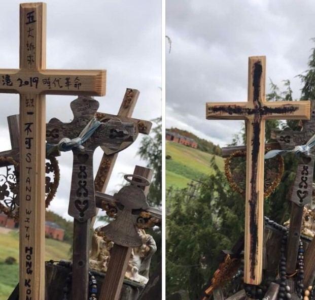 Ant Kryžių kalno išniekinti Honkongą remiantys kryžiai