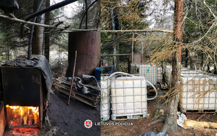 Plungės rajono miškuose aptiktas naminės degtinės bravoras ir beveik 1000 litrų naminukės.