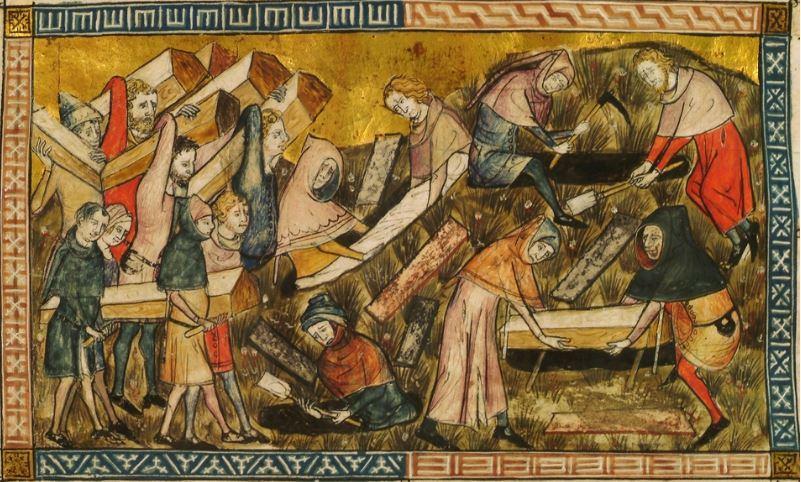 Prancūzijoje laidojamos maro aukos, ~1350 m. piešinys