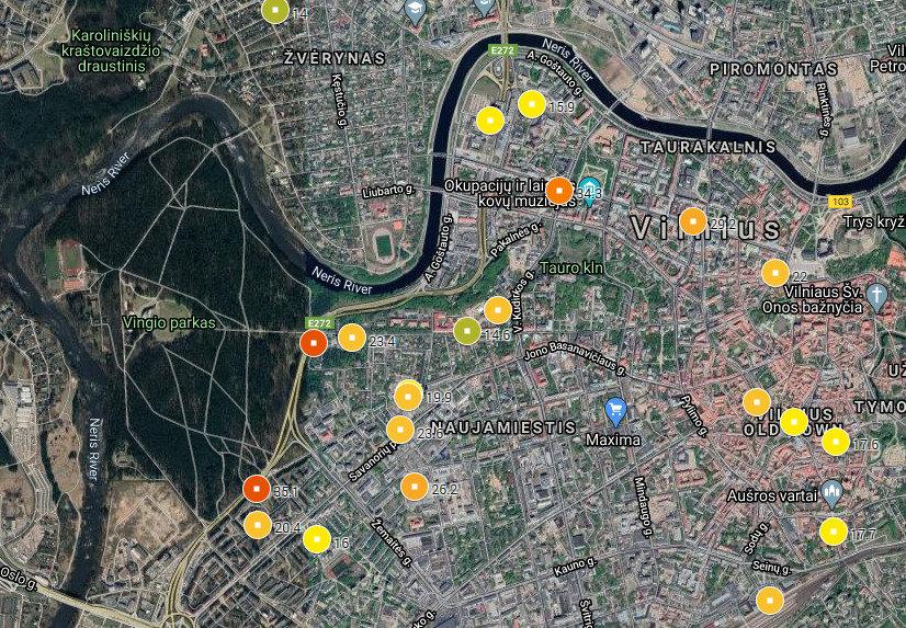 The Vilnius' Grey areas map