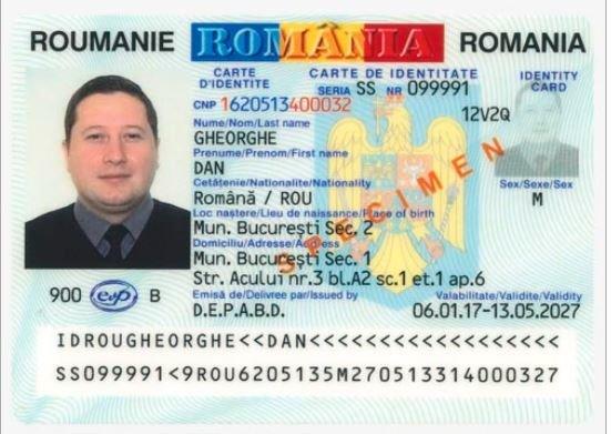 Rumuniškos tapatybės kortelės pavyzdys