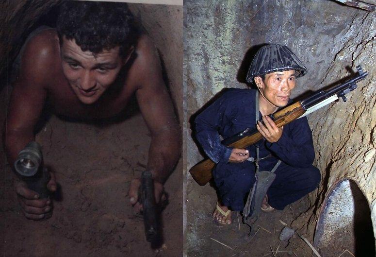 JAV seržantas Vietnamo tunelyje ir vietnamiečių karys