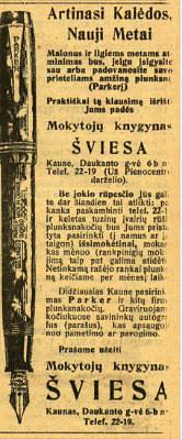 """epaveldas.lt nuotr. /Parkerio reklama """"Lietuvos žiniose"""""""