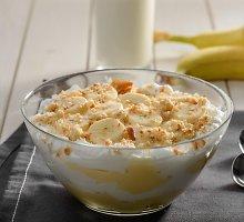 Labai paprastas nekeptas bananų-meduolių desertas