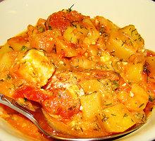 Keptos krevetės su pomidorais ir feta