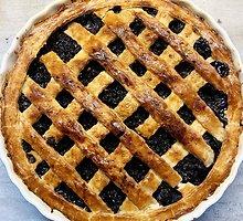 Amerikietiškas mėlynių pyragas, kuriame mažai cukraus