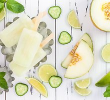 Gaivūs ir lengvi agurkų, kivių ir meliono ledai