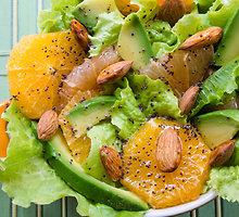 Salotos su avokadais ir mandarinais