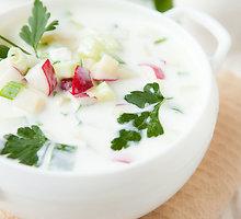 Gaivinanti vasariška sriuba su varške